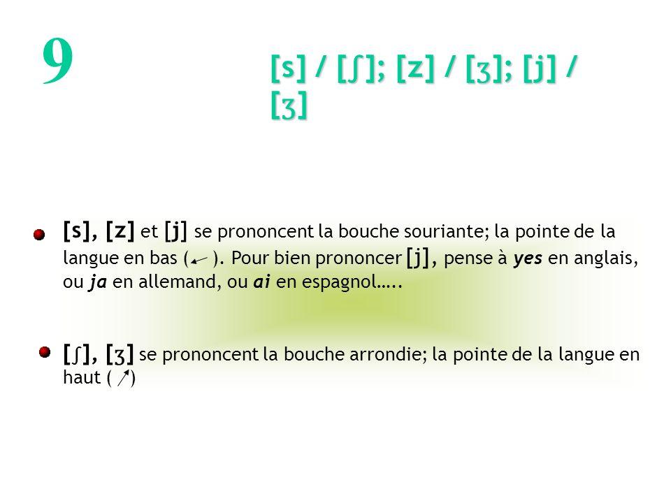 9 [s] / [∫]; [z] / [ʒ]; [j] / [ʒ]